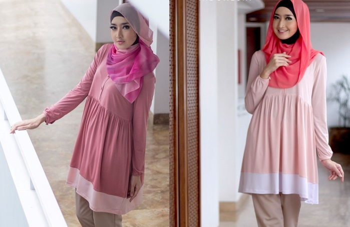 blouse casual muslimah modern