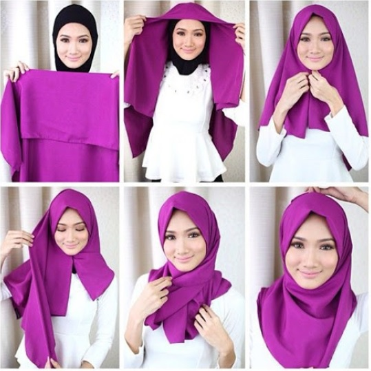 Tutorial hijab segi empat simple remaja